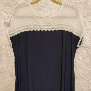 Faith and Joy Blue Lace Top Size XL